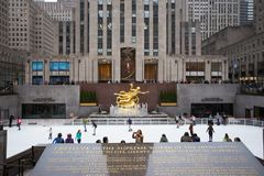 Rockefeller Center Skating In Front Of Prometheus. Stock Photography