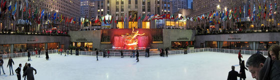 Rockefeller center skating rink Royalty Free Stock Photography