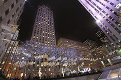 Rockefeller Center skating rink and Christmas tree by night. New York, USA Royalty Free Stock Image