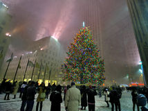 Rockefeller center in the snow storm. A shot of rockefeller center the snow storm Royalty Free Stock Images
