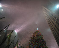 rockefeller center in the snow storm, nyc Royalty Free Stock Photography