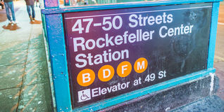 Rockefeller Center Station Entrance at night - NYC Stock Photos
