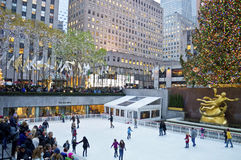 Rockefeller Center Tree and Rink Royalty Free Stock Photography