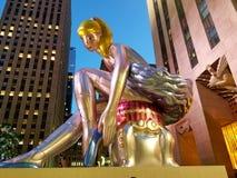 Rockefeller Center view of ballerina stock images