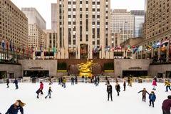 Rockefeller Centrum Lodowy lodowisko Zdjęcie Royalty Free