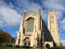 Rockefeller Chapel, Chicago. Exterior of Rockefeller Chapel, a Gothic Revival chapel on the campus of the University of Chicago in Chicago, Illinois, USA stock image