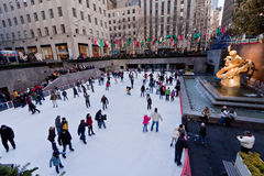 Rockefeller Ice Skate Ring New York City Royalty Free Stock Photos