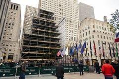 Rockefeller mittChristmans träd Manhattan New York NY Arkivbild