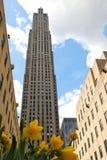 Rockefeller-Mitte mit Blumen Lizenzfreie Stockfotografie