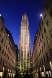 Rockefeller-Mitte nachts Stockbild