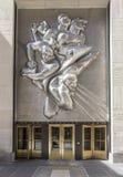 Rockefeller plaza. 50 Rockefeller Plaza entrance door, Manhattan, New York Stock Images