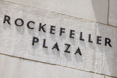 Rockefeller Plaza Inscription, editorial Stock Photo