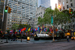 30 Rockefeller Plaza, New York City, NY. Flags of the nations of the world decorate 30 Rockefeller Plaza, Manhattan, NY royalty free stock photos