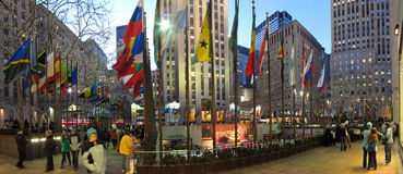 Rockefeller plaza panorama Royalty Free Stock Photography