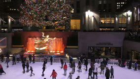 Rockeferrel Center ice skating stock video footage