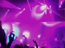 rocken för bandillustrationmusiker silhouettes vektor sex Arkivbild