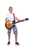 Rocker αγόρι με την κιθάρα Στοκ Εικόνες