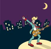 Rocker. Cartoon illustration of a rockabilly guitarist against a stylized city skyline Stock Image