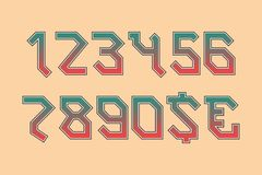 Rocker angular numbers with currency signs of dollar and euro. Gradient symbols with black edging.  stock illustration