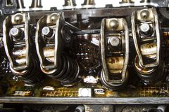 Rocker arms. Of high mileage engine showing sludge buildup stock photos