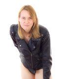 Rocker babe with leather jacket Royalty Free Stock Photo