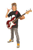Rocker boy with guitar gesturing Royalty Free Stock Photo