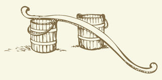 Rocker and buckets. Vector drawing Stock Photo