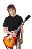 Rocker with electric guitar Royalty Free Stock Photos
