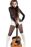 Rocker girl with acoustic guitar Stock Photos