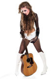 Rocker girl with acoustic guitar Royalty Free Stock Photo