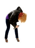 Rocker Girl Bowing with Microphone Royalty Free Stock Photos