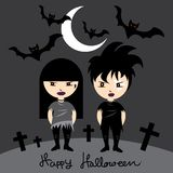 The rocker girl and boy wearing black costume at night Halloween. stock illustration