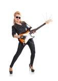 Rocker girl with guitar Stock Photos