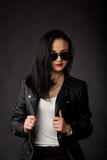 Rocker girl in leather jacket Royalty Free Stock Photography