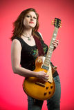 Rocker Girl Musician Electric Guitar Player Royalty Free Stock Photos