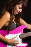 Rocker Girl Playing Guitar Stock Image