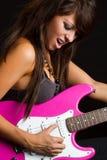 Rocker Girl Playing Guitar Stock Image
