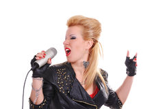 Rocker girl singing Stock Photos