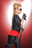 Rocker girl singing Royalty Free Stock Photo