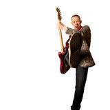 Rocker with guitar and foot Royalty Free Stock Photo