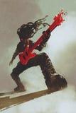 Rocker guitarist playing red guitar Stock Images
