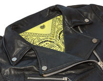 Rocker jacket and bandana yellow Stock Photo