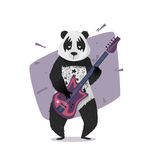 Rocker panda playing the guitar. Royalty Free Stock Images