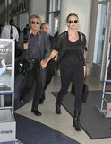 Rocker Rod Stewart with wife Penny at LAX Royalty Free Stock Images