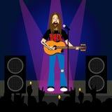 Rocker sings and plays guitar Stock Photos