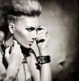 Rocker Style Girl Portrait. Fashion Rocker Style Model Girl Portrait. Black and White stock photo