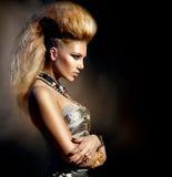 Rocker Style Girl Portrait. Fashion Rocker Style Model Girl Portrait. Hairstyle stock photos