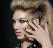 Rocker Style Model Girl. Fashion Rocker Style Model Girl Portrait. Hairstyle stock photos