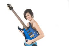 Rocker woman with electric guitar Royalty Free Stock Photography
