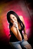 Rocker woman singing Royalty Free Stock Images